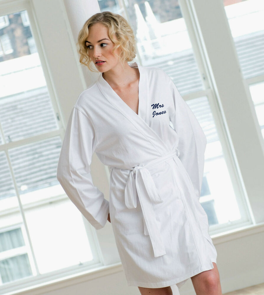 ladies cotton jersey dressing gown robe for hen nights. Black Bedroom Furniture Sets. Home Design Ideas