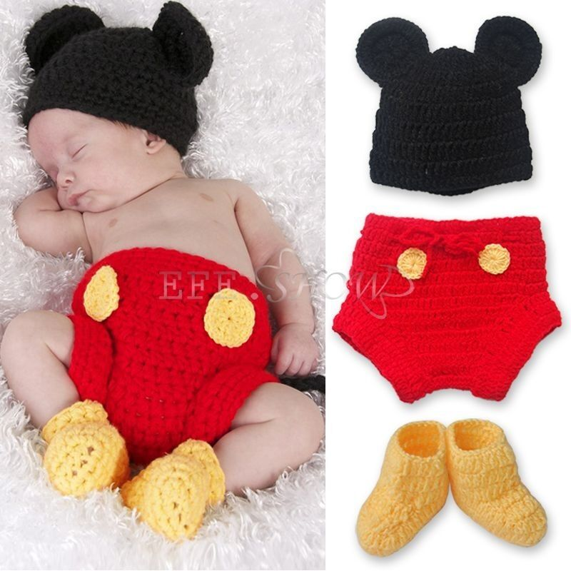 3pcs Baby Boy Girl Mickey Mouse Hat+ Botton+ Boots Crochet Knit Infant Outfit...