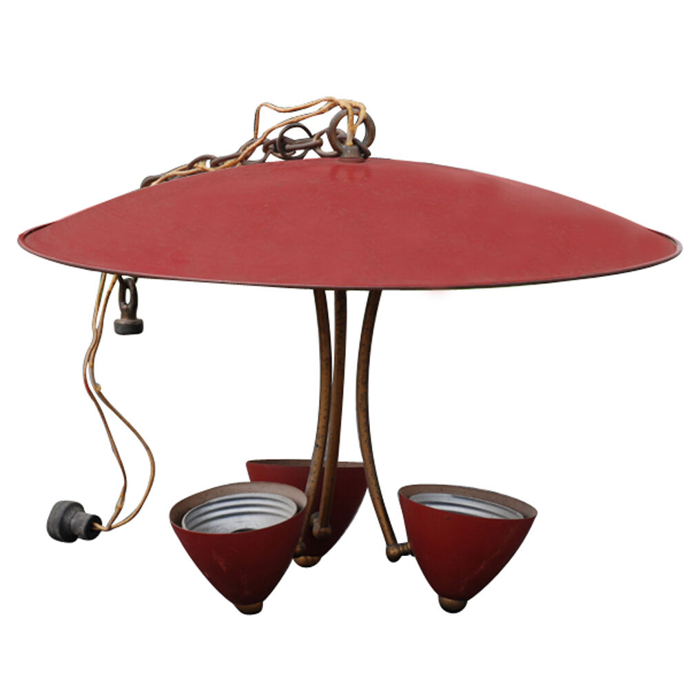 """Vintage 20"""" Industrial Pendant Saucer Light With Red"""