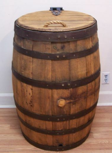 Old Whiskey Barrel Trash Can With Single Hinged Lid