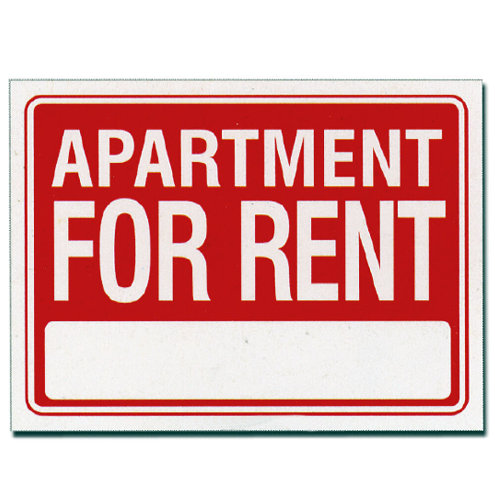 "Apartment For Rent Sign: 2 Pcs 9 X 12 Inch Red & White Flexible Plastic "" Apartment"