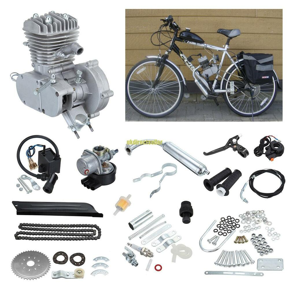 Motorized Bike Engine Petrol Gas 50cc 2 Stroke Silver