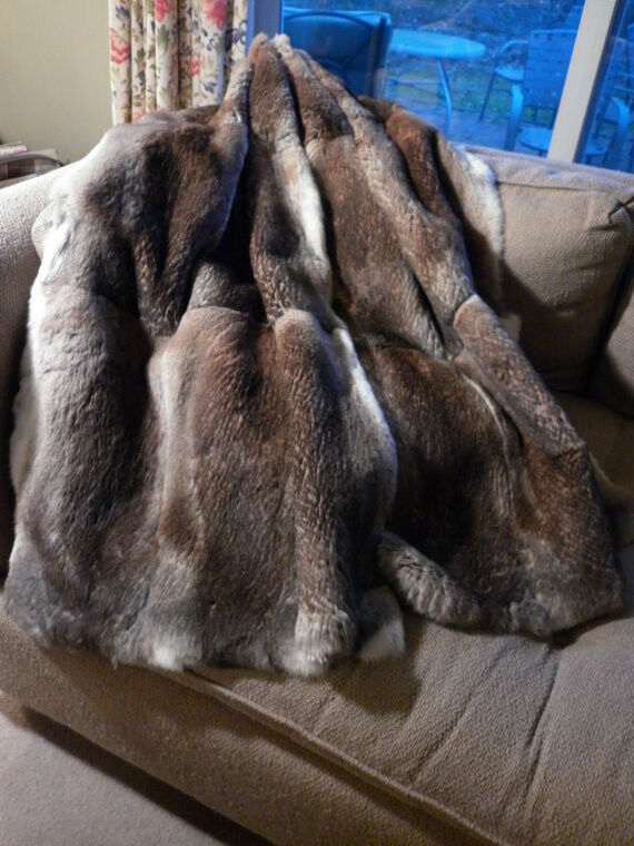Real Natural Heather Sheared Rabbit Fur Throw New Made In