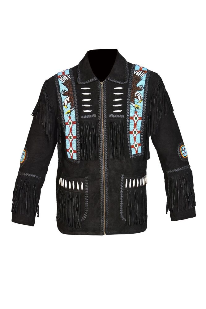 Men S Beaded Fringed Suede Leather Western Cowboy Eagle