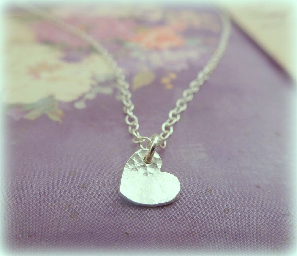 Silver Heart Necklace Solid Sterling Tiny Small Heart