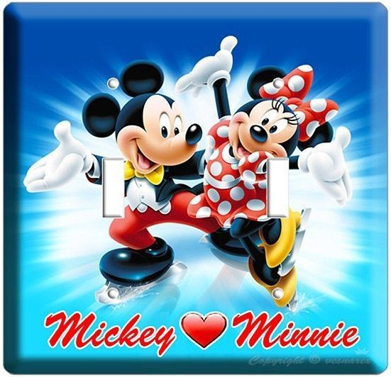 MICKEY MOUSE AND MINNIE ICE SKATING DOUBLE LIGHT SWITCH