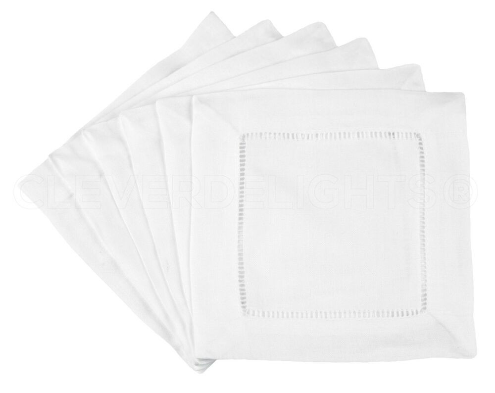 6 white linen cocktail napkins 6 ladder hemstitch for White linen cocktail recipe