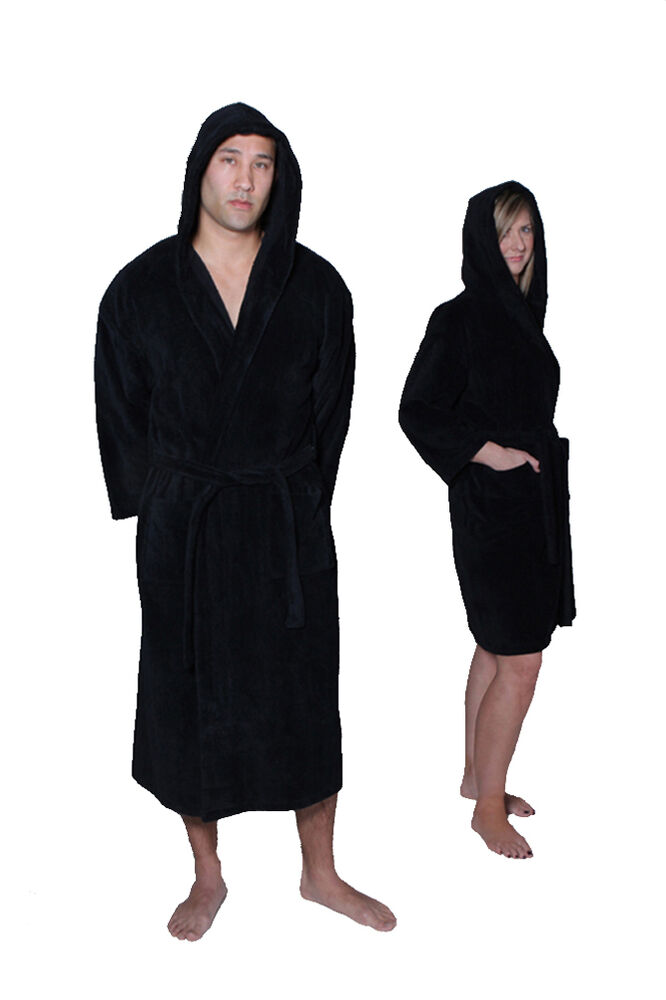 Black Color Cotton Terry Hooded Womens Amp Mens Robe Custom