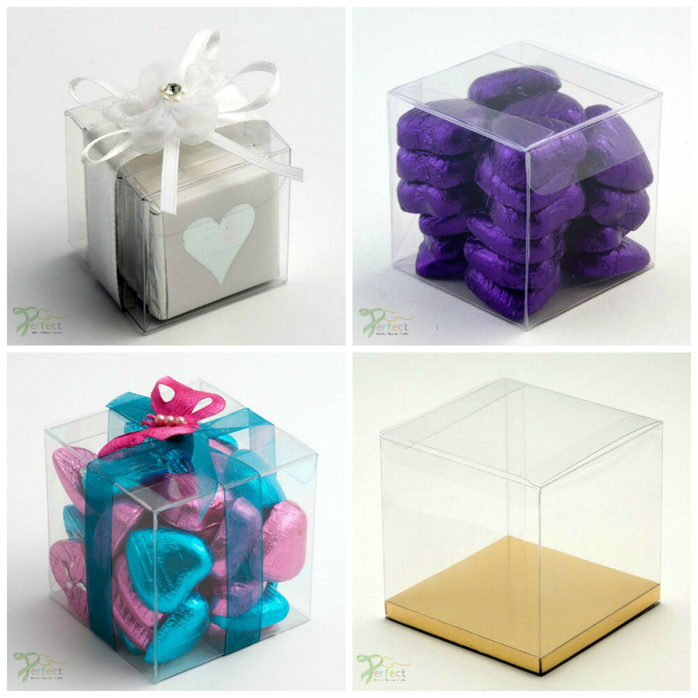 ... PVC Cube Chocolate Sweets Cup Cake Wedding Favour Gift Boxes eBay