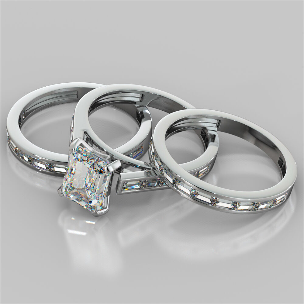 Matching Bands: 3.30Ct Emerald Cut Engagement Ring With 2 Matching Bands