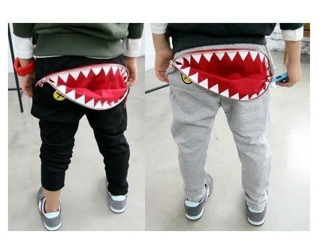 Kids Boys Girls Shark Zipper Pocket Tracksuit Bottoms