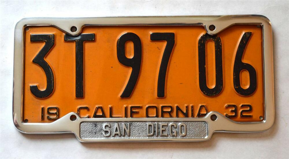 new 1929 1939 san diego california license plate frame ford chevy buick ebay. Black Bedroom Furniture Sets. Home Design Ideas