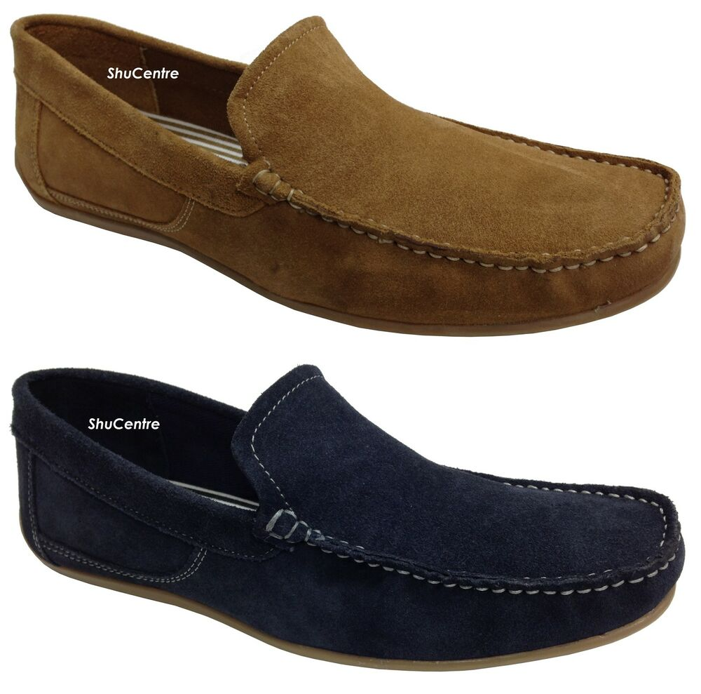 new mens real suede casual slip on loafer shoes moccasins