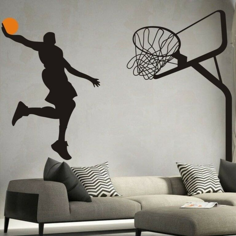 Basketball Dunk Sport Removable Wall Art Decal Vinyl ...