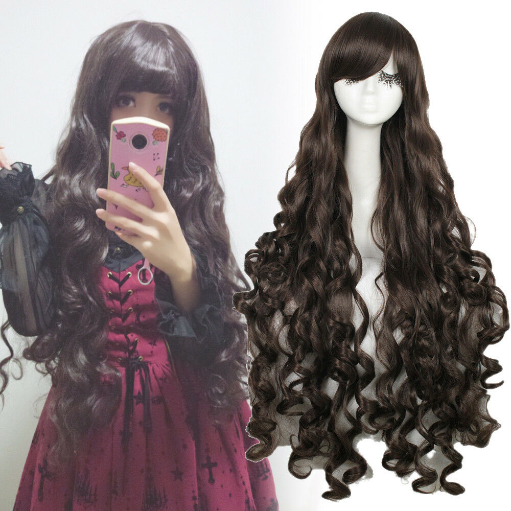 Japan Anime 100cm Women Lady Long Brown Curly Wavy Hair