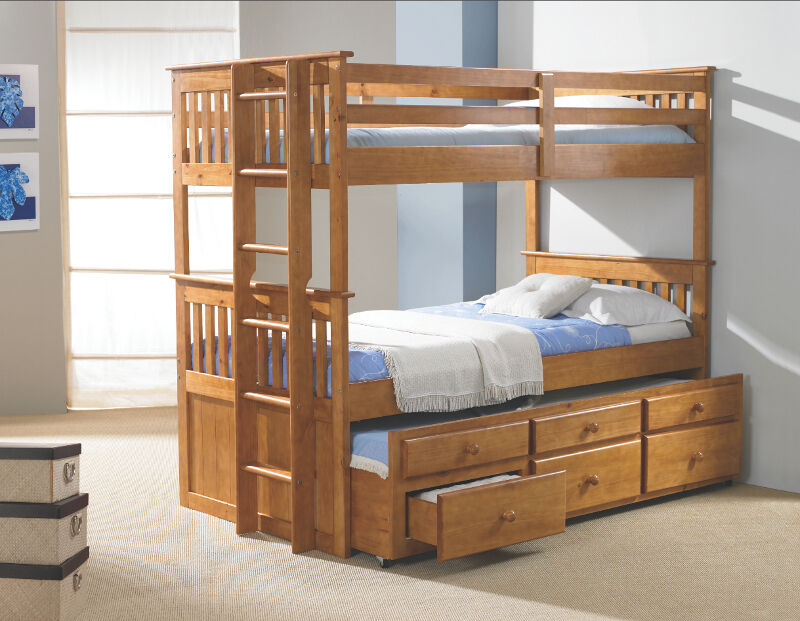 Kid 39 S Captain 39 S Bunk Bed W Trundle And 3 Drawers Twin