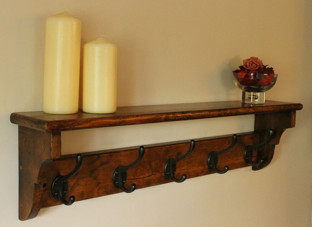 Vintage coat rack shelf hand made from reclaimed wood