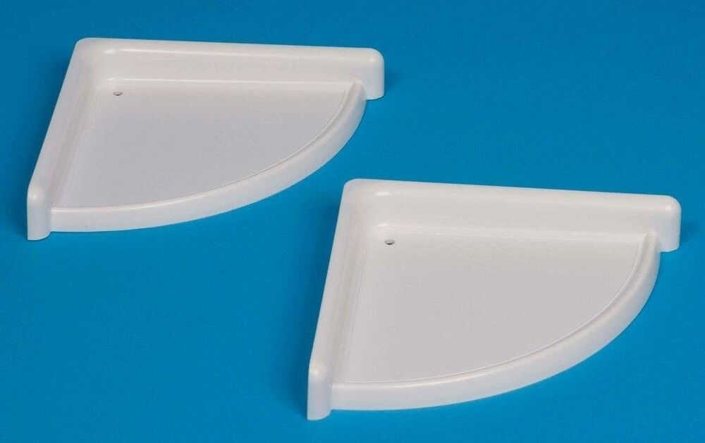 New plastic set of 2 bathroom corner shelf rack white - White bathroom corner shelf unit ...