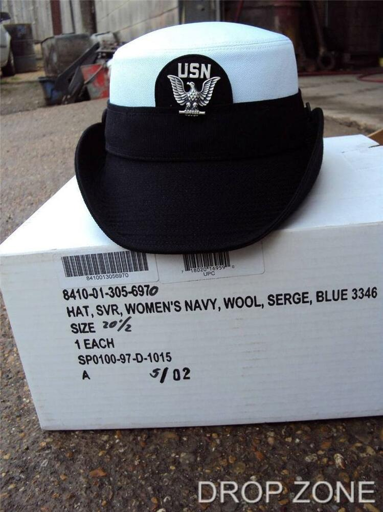 Us Army Surplus >> Womens USN US Navy Hat, with Cap Badge Un-issued in Original Box | eBay