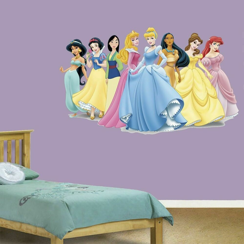 disney princess giant wall mural sticker decal decoration cinderella ariel belle ebay. Black Bedroom Furniture Sets. Home Design Ideas