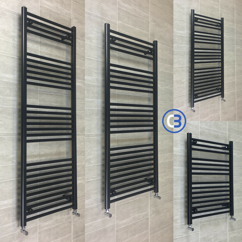 300mm Wide Black Designer Electric Heated Towel Rail: 600mm Wide Black Designer Heated Towel Rail Radiator Rad