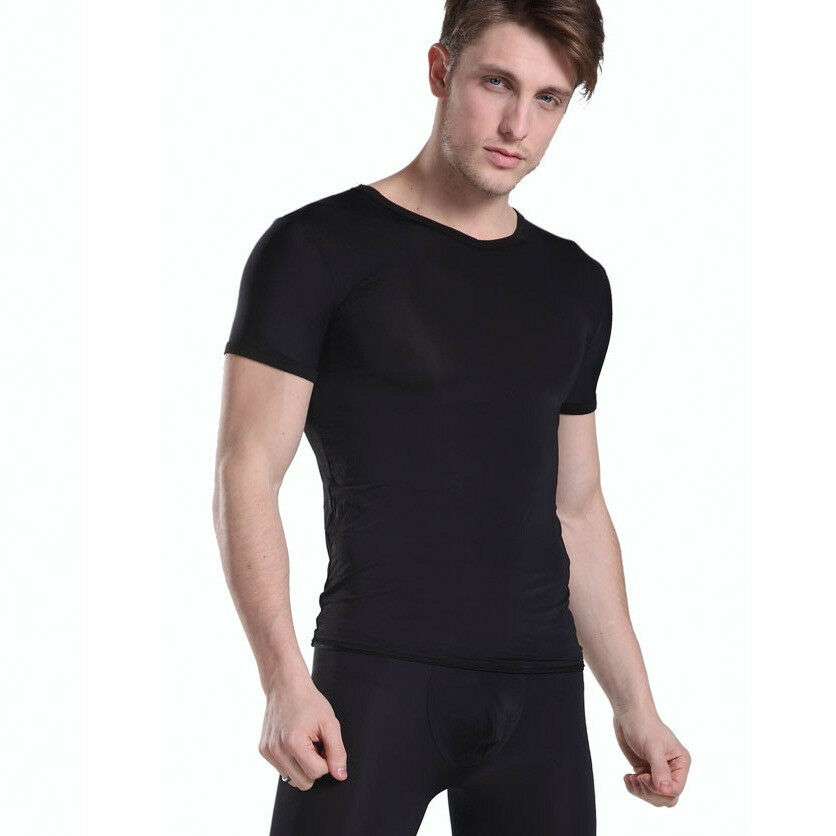 mv mens v neck t shirt tight fitting silky sheer see