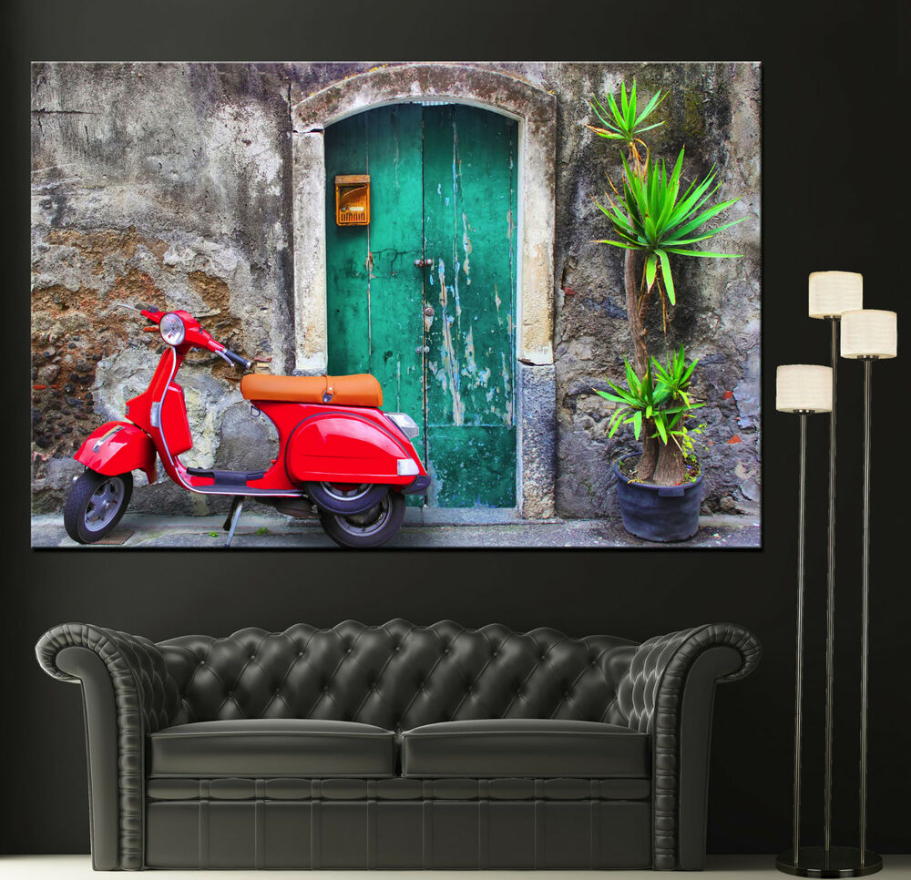 Canvas Wall Fine Art Prints Red Vespa Scooter Moped