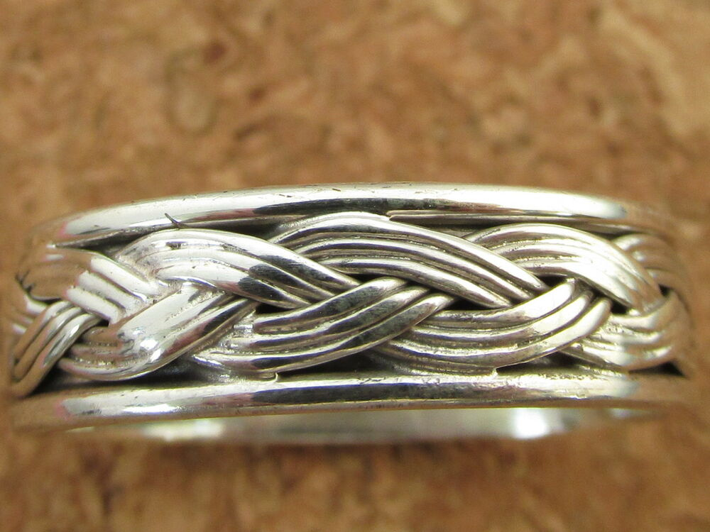 Genuine 925 Sterling Silver Thumb Finger Woven Rope