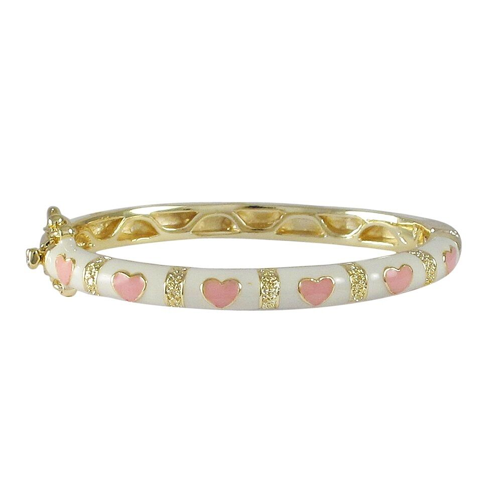 Gold Plated White Pink Enamel Hearts Kids Girls Bangle ...