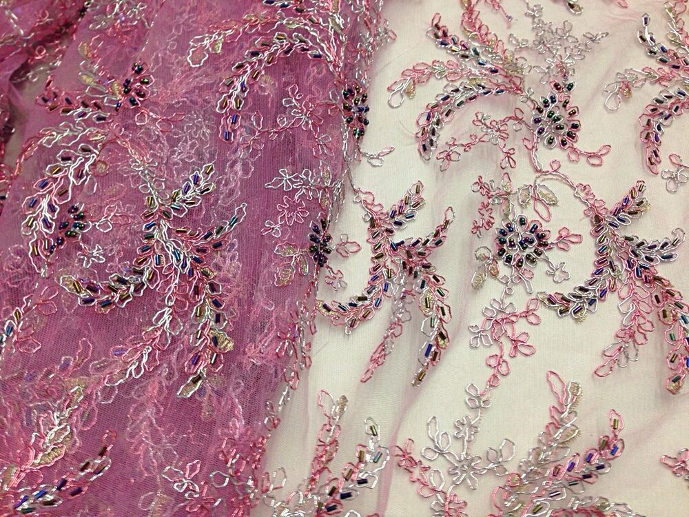 Rose mesh w silver embroidery multi hand beaded lace