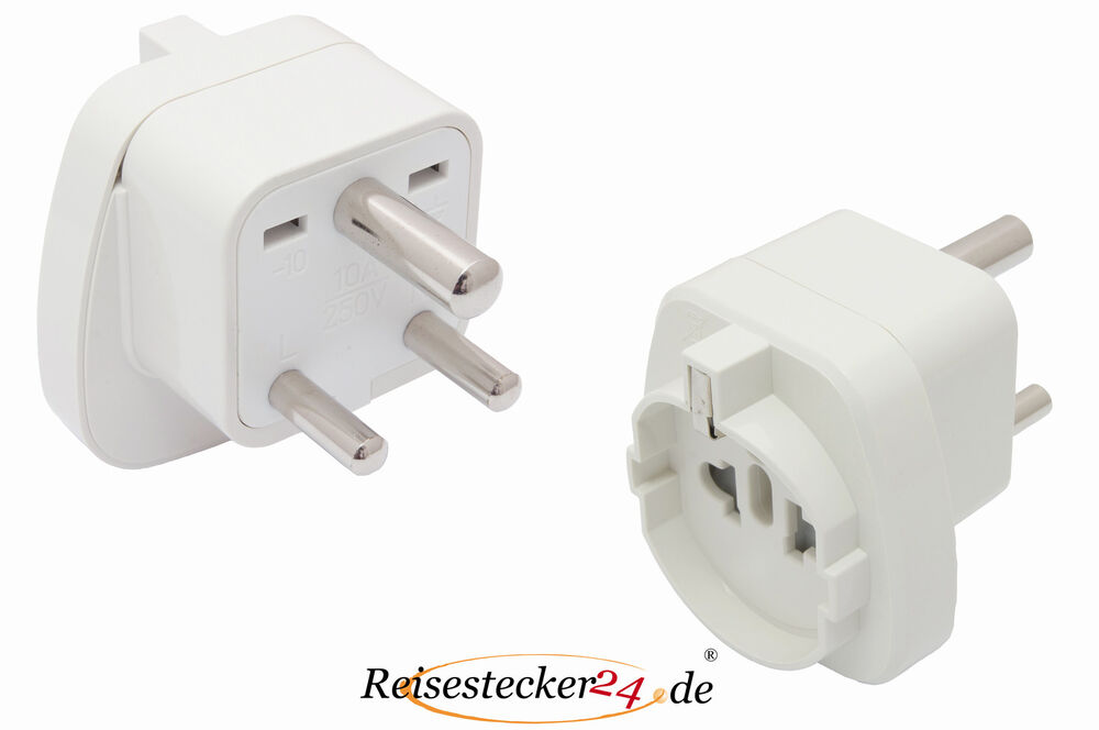 reisestecker adapter f r afrika s dafrika monaco tansania typ d schutzkontakt ebay. Black Bedroom Furniture Sets. Home Design Ideas