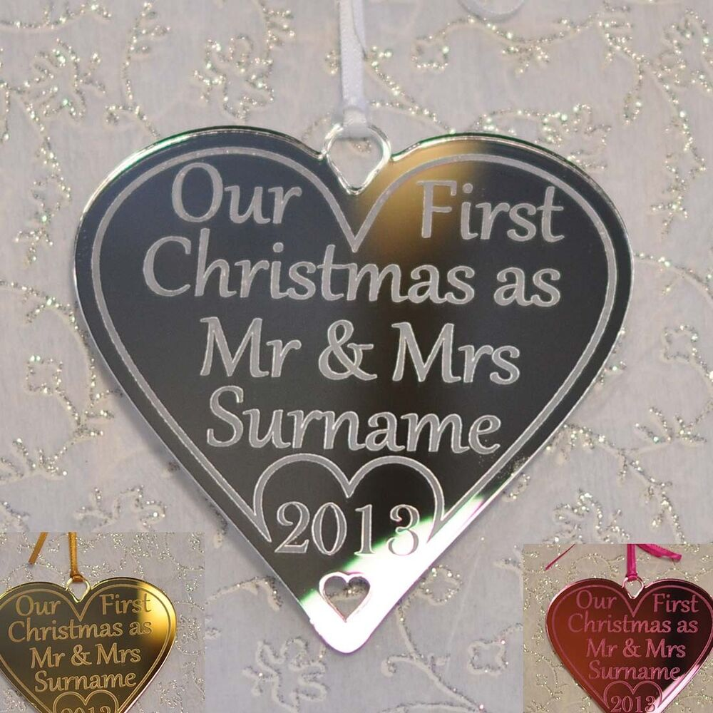 First christmas as mr and mrs decoration - Our First Christmas As Mr Mrs Personalised Tree Decoration Heart Bauble Gifts