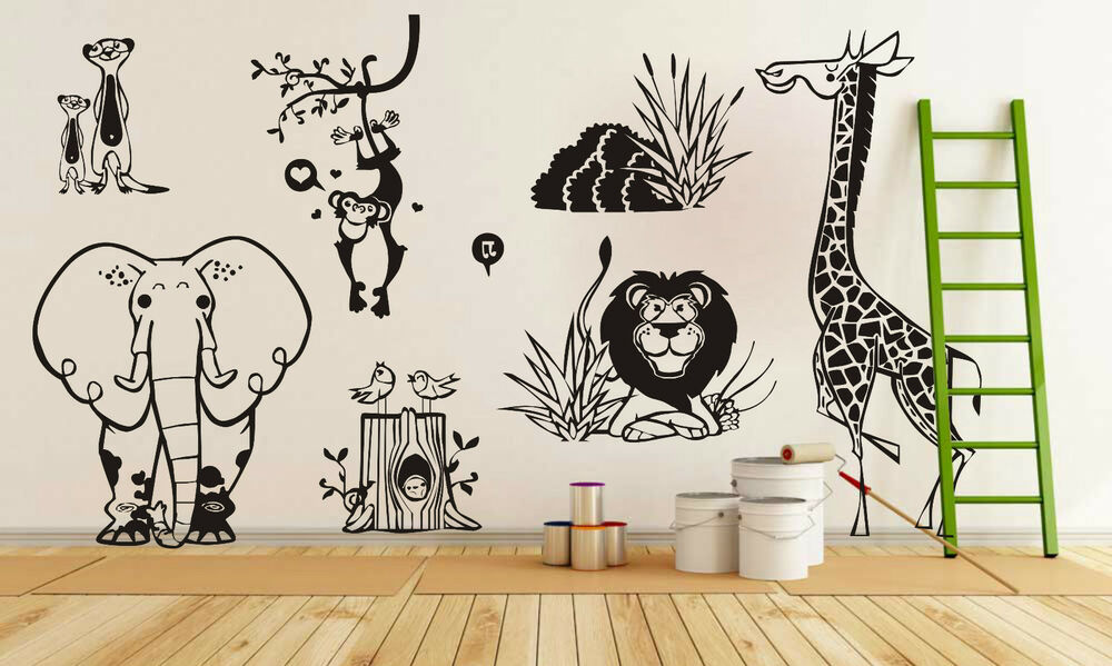 Wall Art Stickers Jungle : Jungle animal zoo living wall stickers kids decal