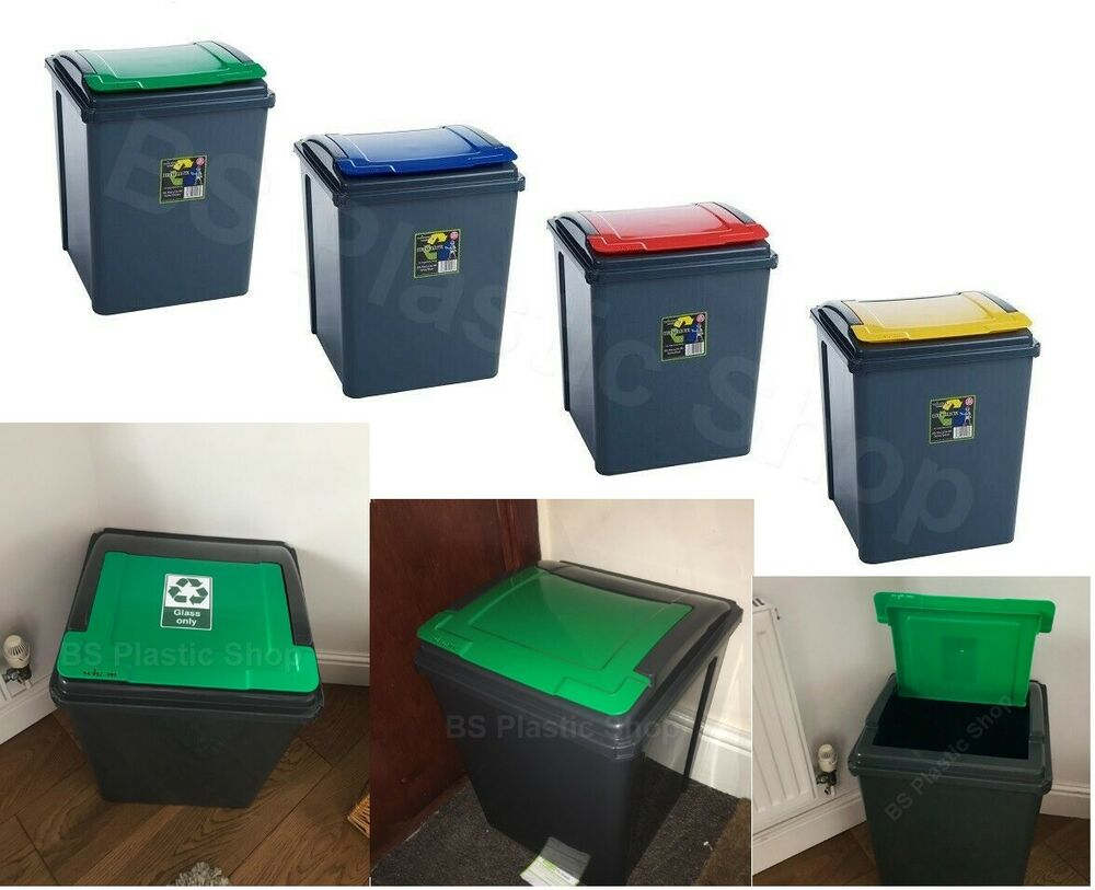 Kitchen Waste Basket Holder: BS 50L BIN RECYCLE BINS STORAGE WASTE PLASTIC RECYCLING