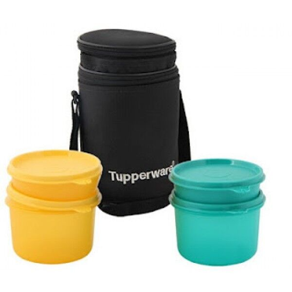 tupperware executive black office school lunch box with bag multi color new ebay. Black Bedroom Furniture Sets. Home Design Ideas