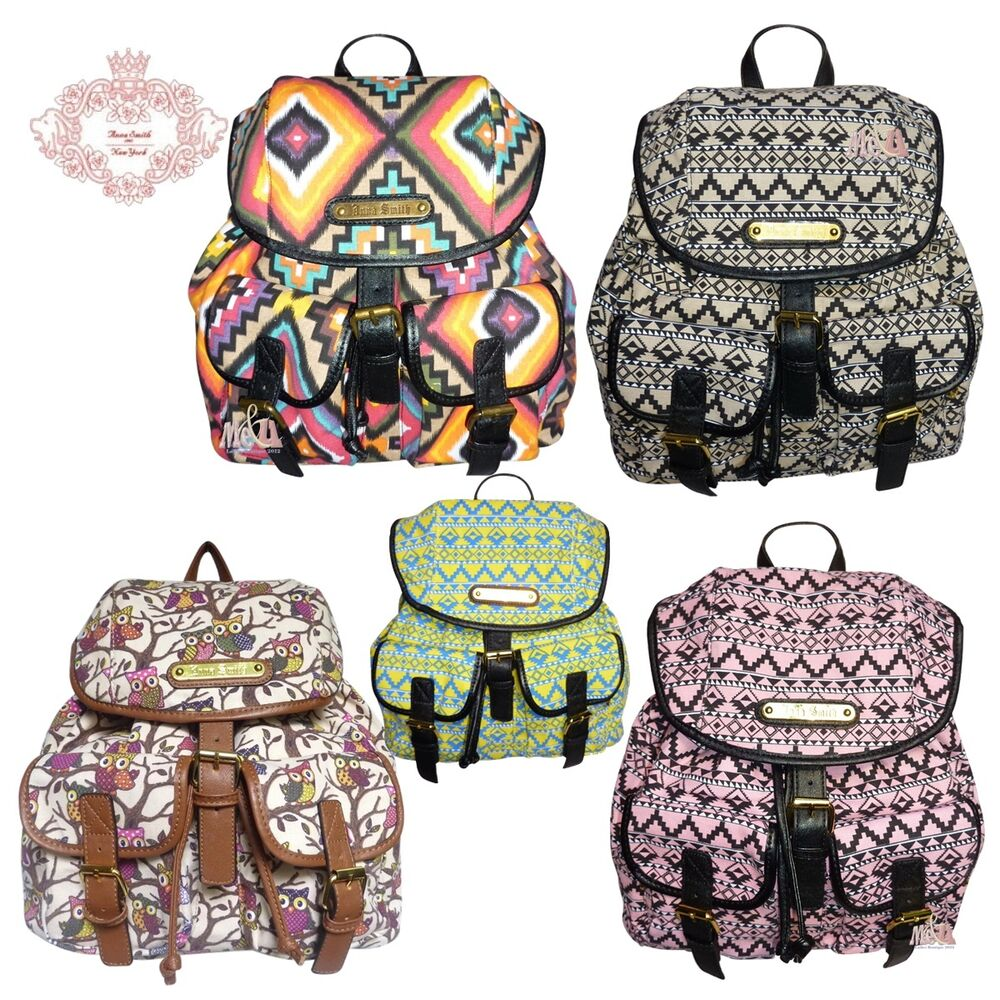 rucksack anna smith lydc tasche damen eulen retro azteken aufdruck ebay. Black Bedroom Furniture Sets. Home Design Ideas