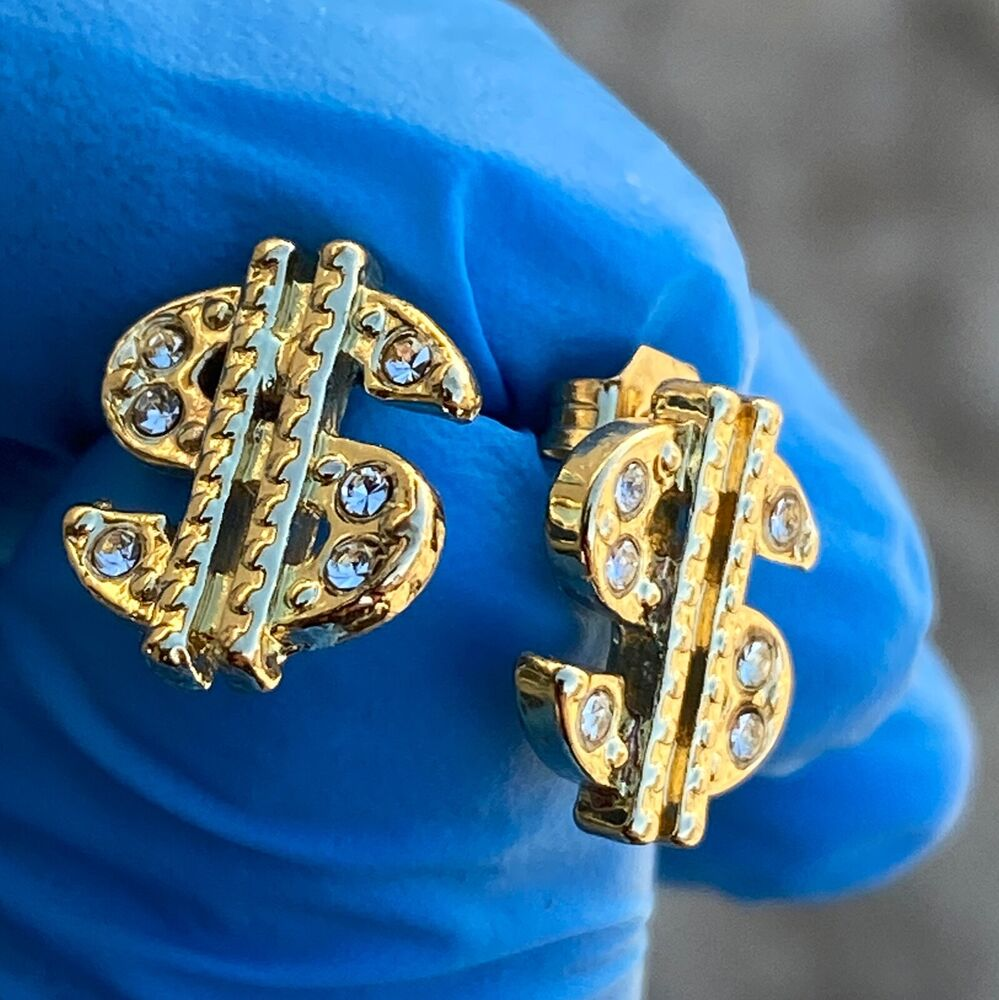 icedout earrings dollar signs gold tone icy money iced out mens rapper 8900