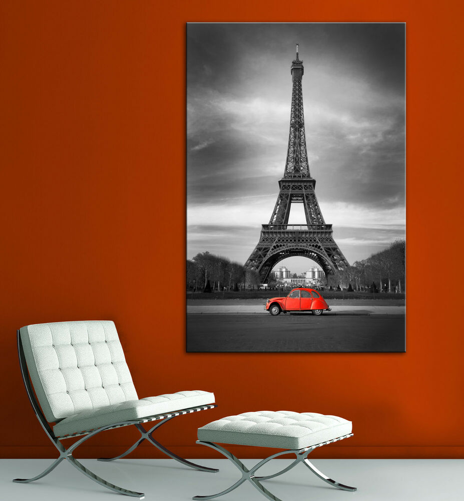 Eiffel Tower Red Car Paris Black White Canvas Print Home