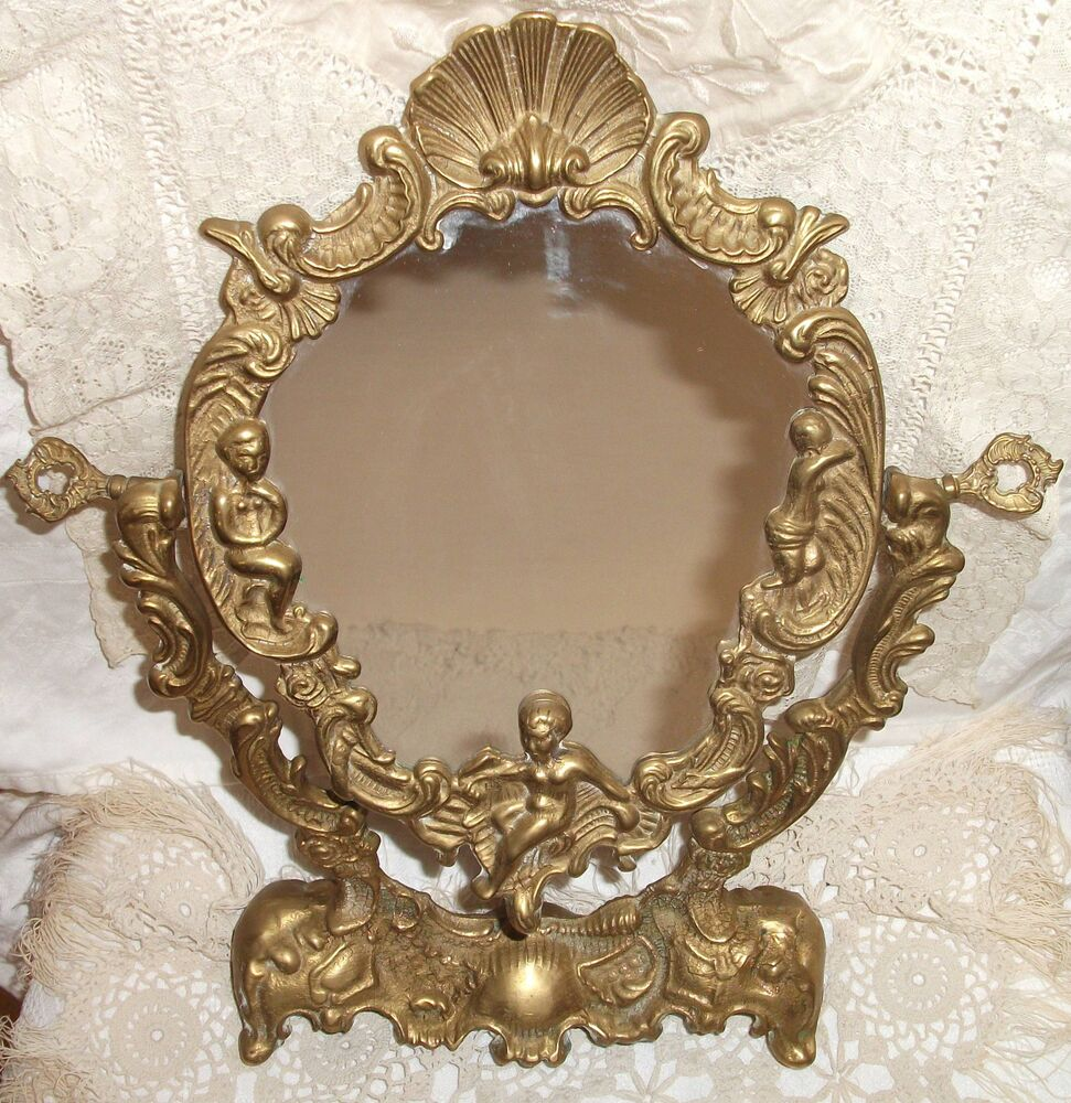 ancien miroir style louis xv avec angelots sur pieds en bronze ebay. Black Bedroom Furniture Sets. Home Design Ideas