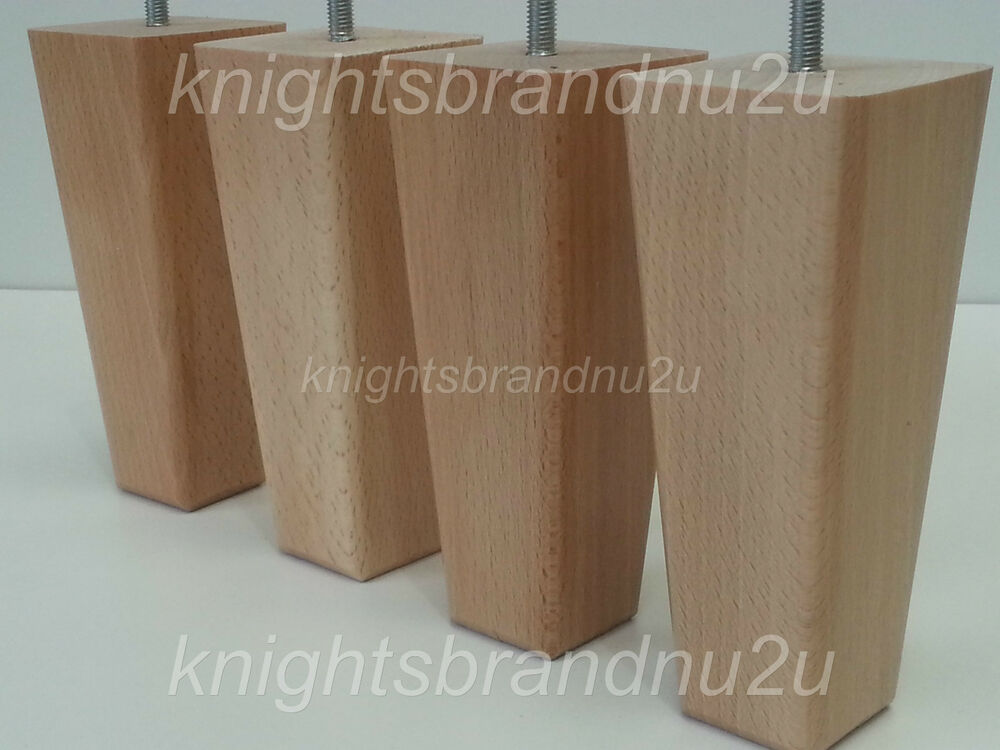 4x Wooden Feet Wood Furniture Legs For Sofas Chairs Settees Footstools 200mm M8 Ebay