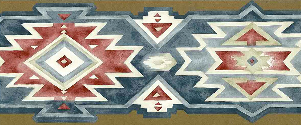 SOUTHWEST GEOMETRIC Wallpaper Border Red White Blue ...