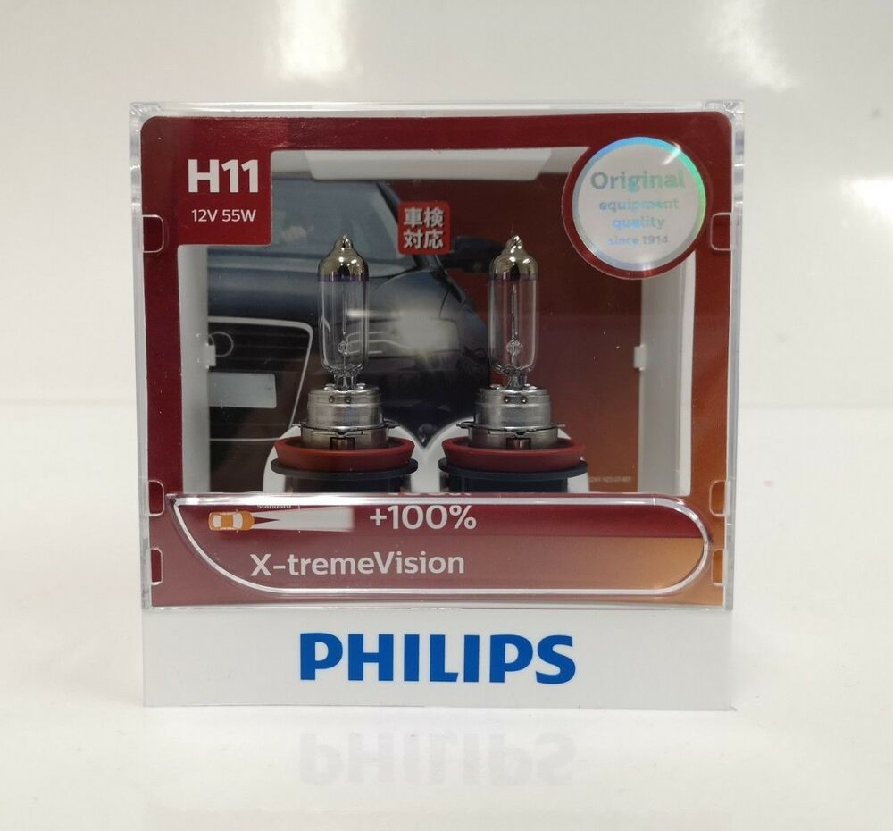 genuine philips h11 xtreme vision 100 35m bulbs. Black Bedroom Furniture Sets. Home Design Ideas
