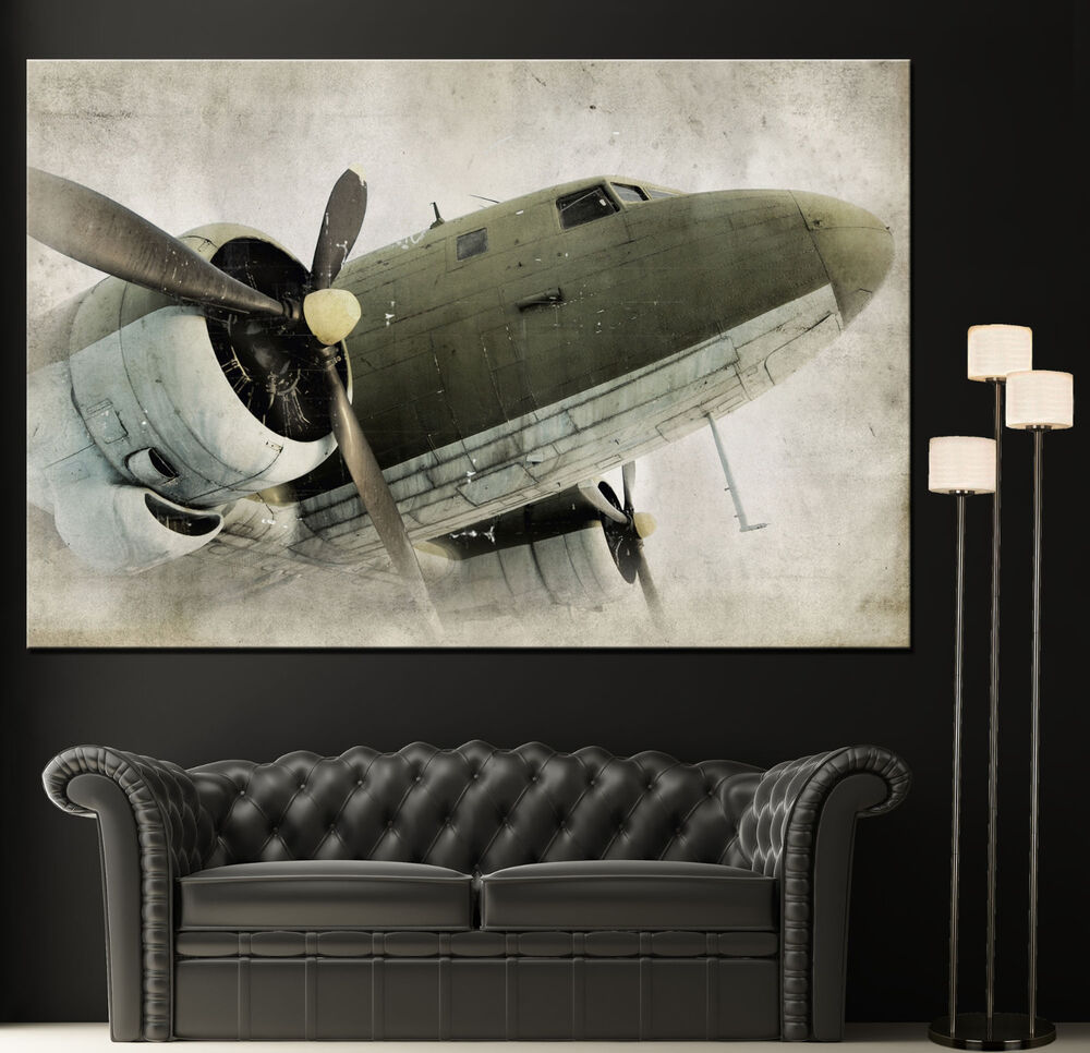 Wall art propeller airplane canvas giclee print photo for Airplane decoration