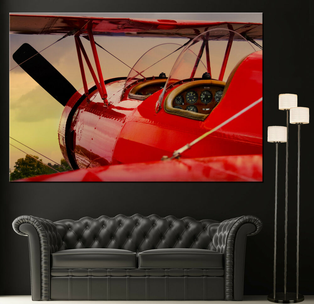 Red Vintage Propeller Airplane Canvas Print Picture Art
