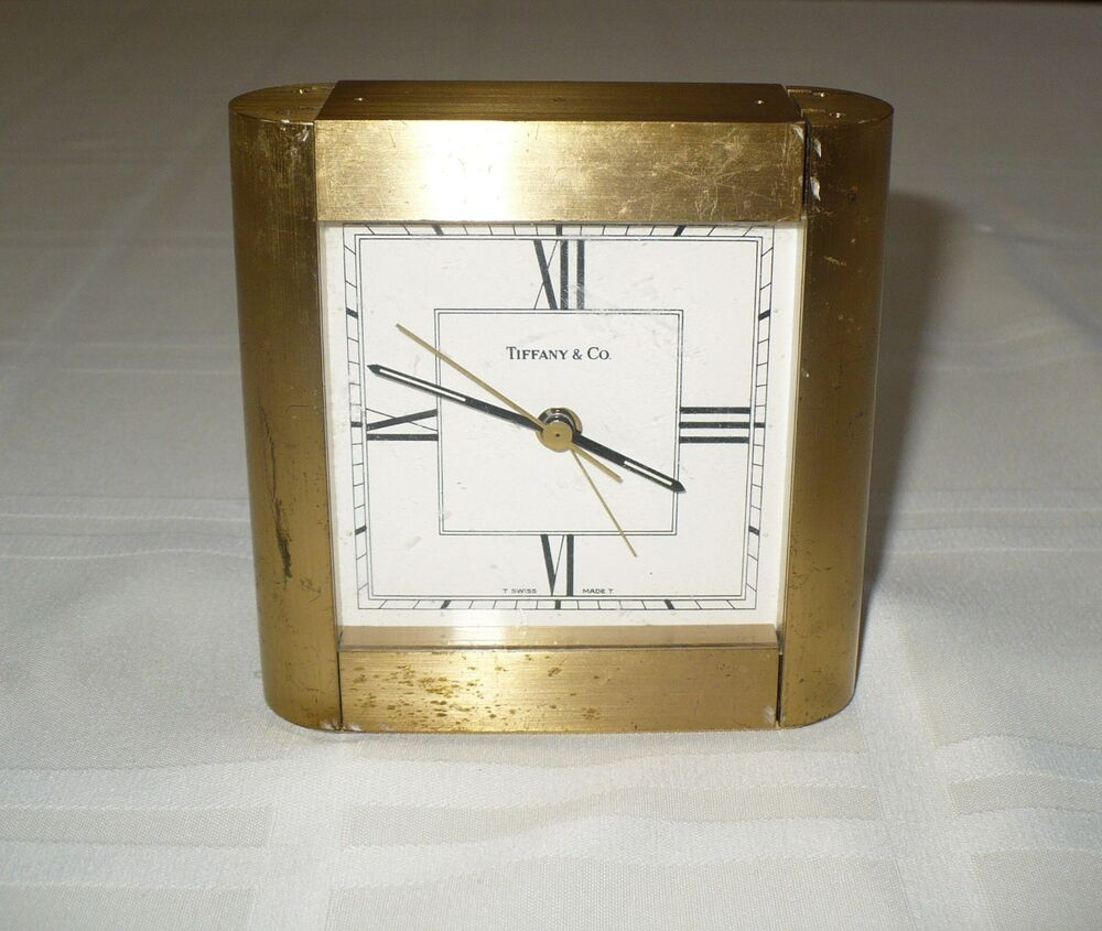 Vintage Tiffany Amp Co Heavy Brass Shelf Mantle Desk Clock