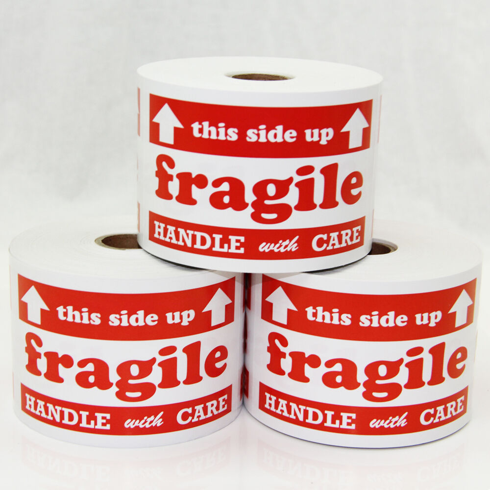300 Labels 3x5 Fragile Handle With Care Arrow This Side Up ...