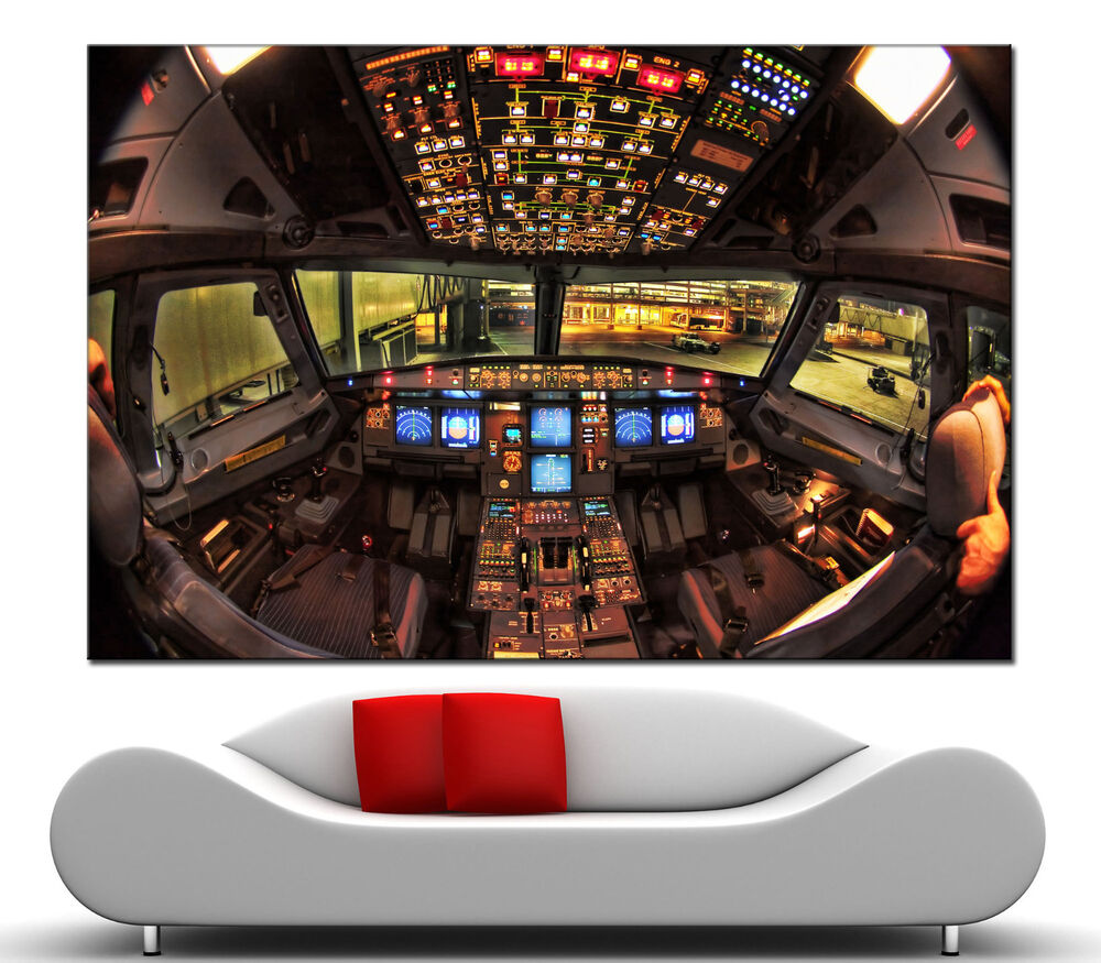 Wall art airplane cockpit canvas print picture prints home for Airplane cockpit wall mural
