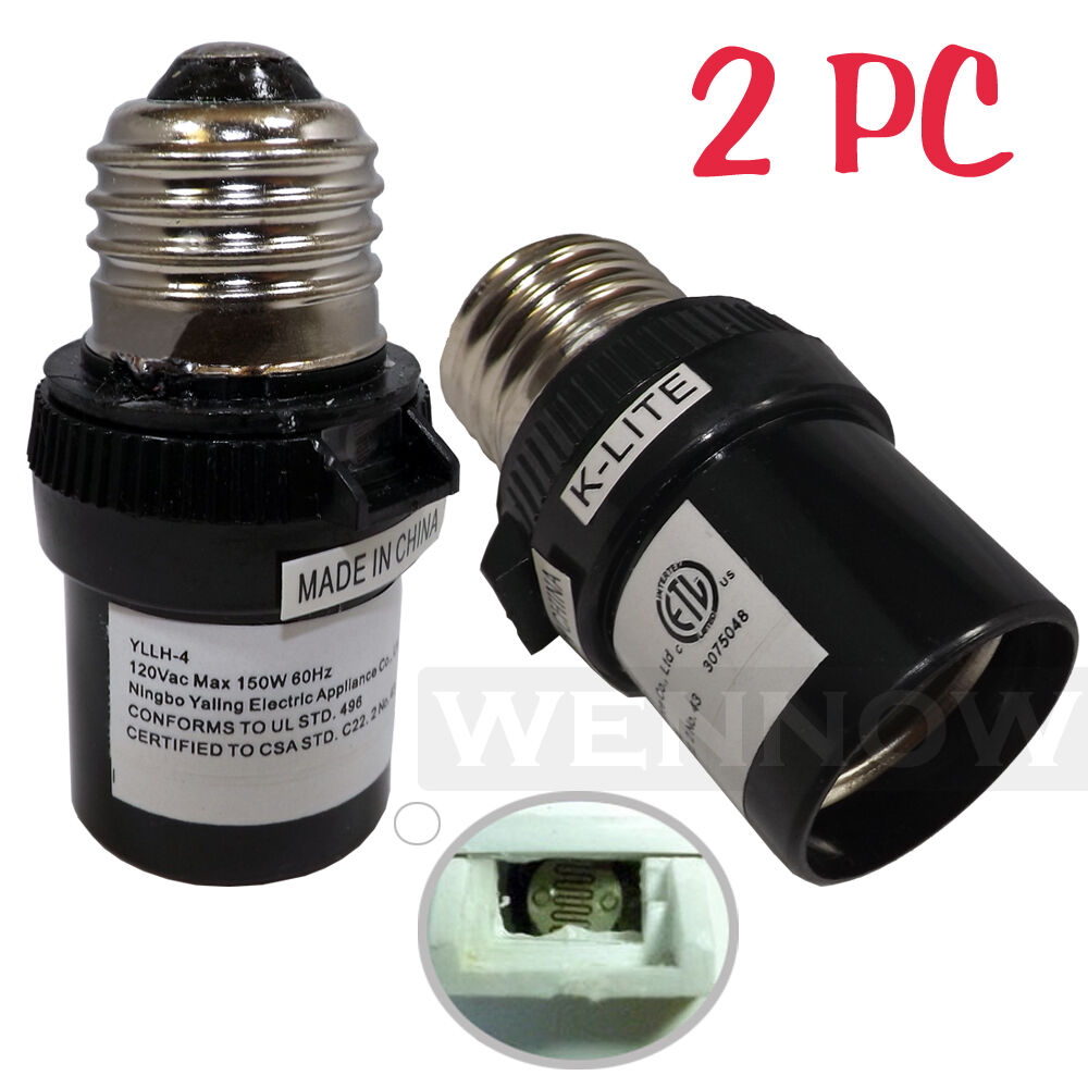 2 Pcs Black Dusk To Dawn Photocell Light Control Auto