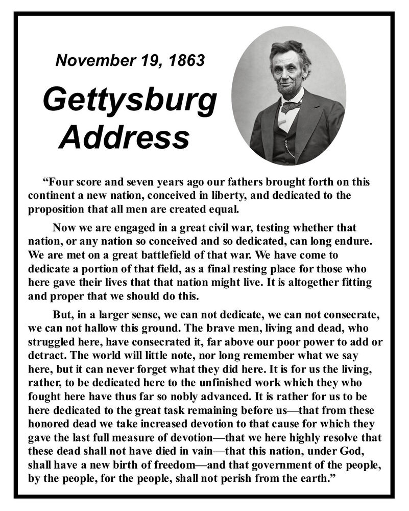 Swell Abraham Lincoln Gettysburg Address Famous Speech Quote 8 X 10 Hairstyle Inspiration Daily Dogsangcom