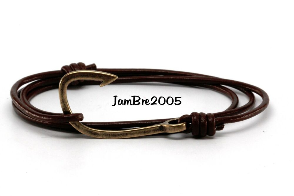 Handmade chocolate round leather cord bronze fish hook for Leather fish hook bracelet